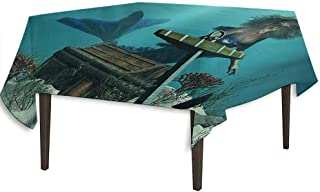 kangkaishi Mermaid Waterproof Anti-Wrinkle no Pollution Mermaid in Ocean Sea Discovering Pirates Treasure Chest Mythical Art Print Outdoor Picnic W70 x L70 Inch Azure Brown Cream