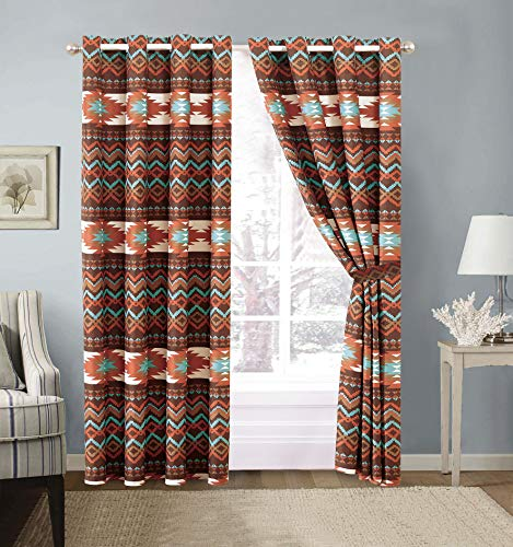 Utah Rustic Western Southwest Native American Grommet Window Curtains Treatment Set with in Turquoise Blue and Brown and Native American Tribal Patterns – Utah Curtains (Brown, Microfiber)
