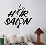 UYEDSR Stickers Muraux Salon de Coiffure Logo Vinyle Autocollant Sticker Mural Salon de Coiffure Miroir fenêtre décoration Coiffure Coupe de Cheveux Salon de Coiffure décoration 66x57cm