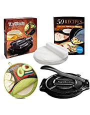 "Tortillada – 25cm Premium gietijzer Tortilla Press + E-Book""50 Tortilla Recepten"" + Tortilla Warmer incl. 100 stuks perkament"