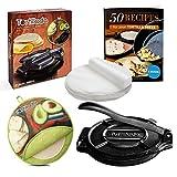 Tortillada - Prensa de tortilla de hierro fundido premium con libro electrónico de recetas (10 pulgadas) + calentador de tortillas incl. 100 piezas de papel pergamino