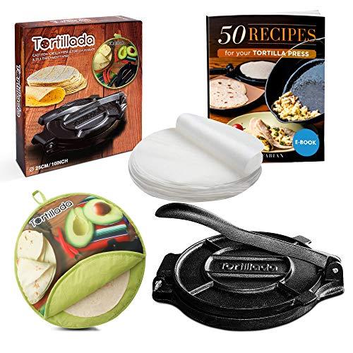 Tortillada - 25cm Tortillapresse aus Gusseisen + Tortilla Wärmer + E-Book mit 50 Tortilla Rezepten auf Deutsch + 100 x Pergament Papier