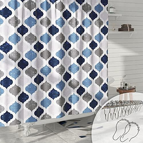 DESIHOM Blue Grey Geometric Shower Curtain Moroccan Trellis Shower Curtain Modern Quatrefoil Shower Curtain Spring Polyester Waterproof Shower Curtain 72x72 Inch