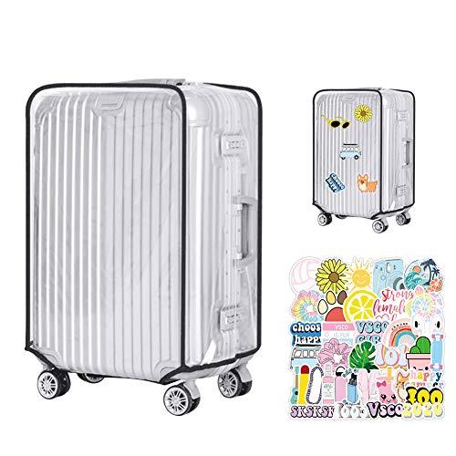 2 Pcs Luggage Cover Protettore di Bagagli Suitcase Cover Copertura Trasparente per Valigie in PVC Bagaglio Protettore AstuccioImpermeabile Custodie Protettive (24,4 pollici * 16,1 pollici)