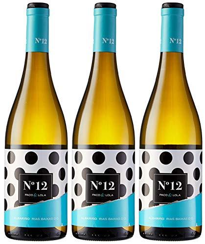Paco & Lola Nº 12, Vino Blanco - 3 botellas de 750 ml, Total: 2250 ml