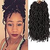 Short Faux Locs Crochet Hair 12 Inch - 6Packs/Lot 12'' Boho Locs Crochet Hair Pre-loop Nu Faux Locs Synthetic Crochet Hair Curly Faux Locs Hair Extensions Braids Dreadlocks 20Roots/PCS(12inch,Black)