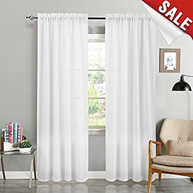 White Curtains for Bedroom Semi Sheer Curtains Casual Weave Textured Privacy Window Curtains for Living Room 95 Inches Long Thick Window Treatments 2 Panels