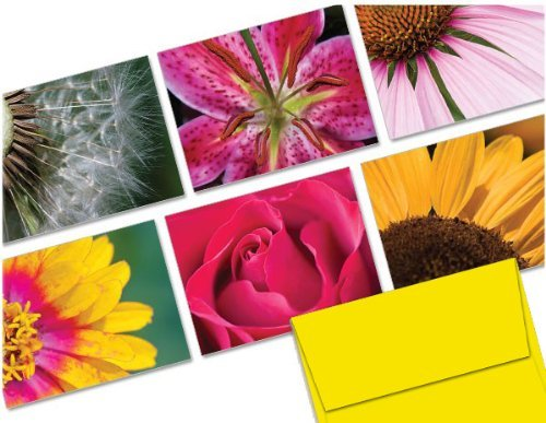 Note Card Cafe All Occasion Greeting Card Set with Envelopes   72 Pack   Blank Inside, Glossy Finish   6 Unique FlowersDesigns   Bulk Set for Greeting Cards, Occasions, Birthdays