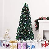 Zronji 6FT Artificial Christmas Tree, Small Light Fiber Optic Christmas Tree 230 Branches Automatic Tree Trees with Stand Flocked, Perfect Tree for Holiday Outdoor and Indoor Decor (US Stock)