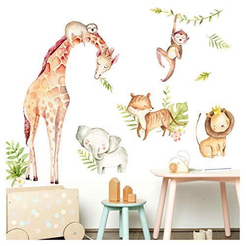 Little Deco Wandaufkleber Tiere & Löwe mit Krone I L - 129 x 70 cm (BxH) I Elefant Giraffe Faultier Wandsticker Babyzimmer Junge Wandtattoo Kinderzimmer DL472