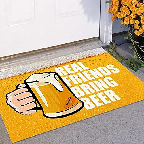 TIANTURNM Los Amigos Reales traen un Felpudo de Cerveza para Interiores y Exteriores, Felpudo cálido para la casa, Regalo, Alfombra de Bienvenida, Regalo para Amigos, Regalo de cumpleaños