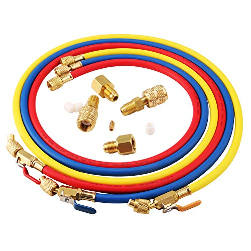 Lichamp 3 Pieces 5FT AC HVAC Manifold Gauge Hose Kit with Ball Valve and 4 Pieces Hose Adapters Fits R134A R410A R404A R12 R22 R502 R1234YF Refrigerants