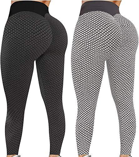 2 Stücke Damen Stretch Yoga Leggings, Butt Lifter Anti-Cellulite Yogahosen, High Taille Bauchkontrolle Kompressionshose, Sport Leggings, Push Up Leggings in voller Länge für Fitness-Laufen