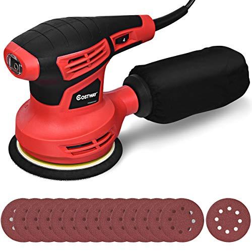 COSTWAY Exzenterschleifer Schleifmaschine mit 15 Schleifpapier / 6 Stufen/ 6000-12000RPM / 280W / 125mm Durchmesser/mit Staubabsaugung/Ideal für Heimwerkerarbeiten