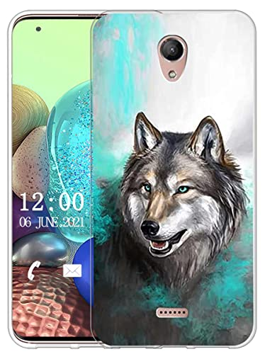 Sunrive Kompatibel mit Wiko U Feel Fab Hülle Silikon, Transparent Handyhülle Schutzhülle Etui Hülle (X Wolf 1)+Gratis Universal Eingabestift MEHRWEG