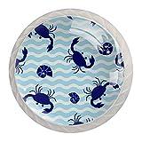 AITAI Royal Blue Crab - Juego de 4 pomos redondos para armario (4 unidades)