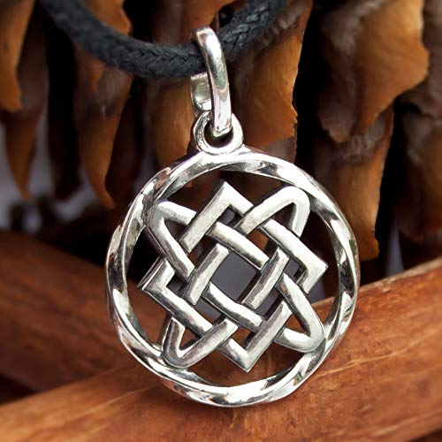 Celtic Infinity Knot Pendant Necklace Sterling Silver 925 Irish Endless Eternity Knot Charm Wiccan Pagan Norse Jewelry for Women Protective Amulet