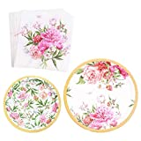 Vintage Floral Party Supplies Set(Serves 16) - Paper Plates, Napkins|Great for Wedding Parties, Bridal Shower, Baby Shower and Birthday Party