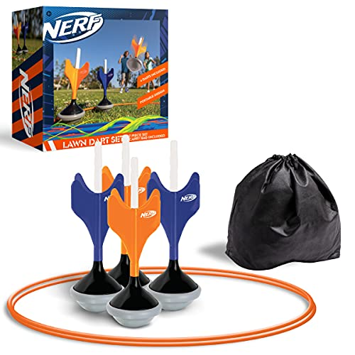 Nerf Soft Tip Lawn Dart Game Set, Includes 4 Lawn Darts, 2 Target Rings, Storage Bag