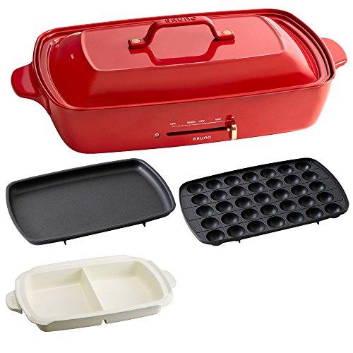 BRUNO ブルーノ ホットプレート グランデ サイズ 本体 プレート3種 (たこ焼き 平面 セラミックコート仕切り鍋) 付き レッド Red 赤 おすすめ おしゃれ かわいい これ1台 蓋 ふた付き 温度調節 洗いやすい 4人 5人用 大型 大きいサイズ 多人数 ワイド 幅約50㎝ BOE026-RD 1700334
