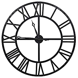 Everly Hart Collection Oversized Black and Bronze Metal Wall Clock
