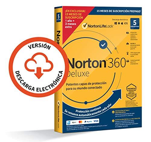 Norton 360 Deluxe 2021 - Antivirus software para 5 Dispositivos y 15 meses de suscripción con renovación automática,...