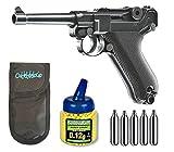 Pack Pistola airsoft Umarex U25874. P08 Legends. Calibre 6mm. + Funda Portabalines + Biberon 1000 bolas + bombonas Co2