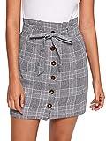 WDIRARA Women's Casual Plaid High Waist Button Closure A-line Mini Short Skirt Grey M
