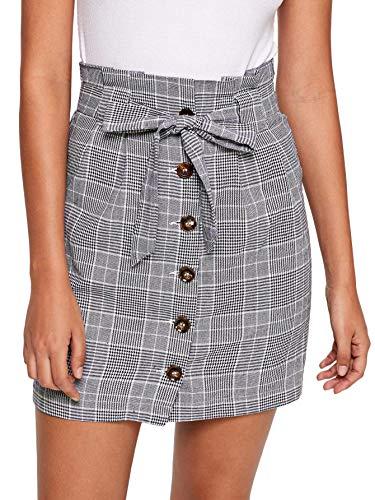 WDIRARA Women's Casual Plaid High Waist Button Closure A-line Mini Short Skirt Grey XS