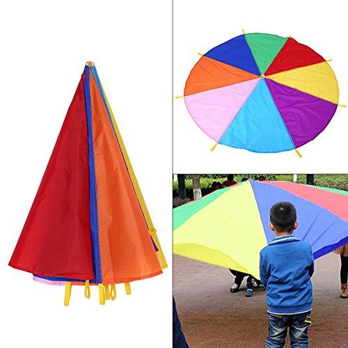 Hztyyier 6.5ft Juego de paracaídas con 8 Colores para Actividades Deportivas Team Building Actividades de Desarrollo de Calidad para niños