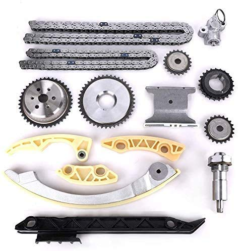 Engine Timing Chain Kit w/Chain Guide Tensioner Sprocket - Compatible with 2.0L 2.2L 2.4L Buick Chevy GMC Pontiac Saab Saturn - Replace # 12680750 9-4201S 9-4201SX