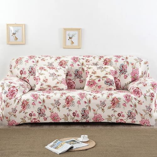 PPOS Funda de sofá elástica Universal, sofá seccional, Funda de Muebles para sillón, Hojas de pájaros Florales A17, 4 Asientos, 235-300cm-1pc