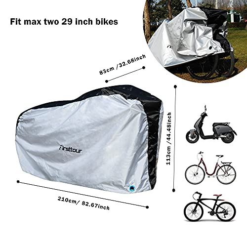 Firsttour Heavy Duty Ripstop Material Bike Covers Outdoor Storage Waterproof for 2 Bikes, Dust-Proof, Anti-UV, Ripstop Material, Heavy Duty Bicycle Cover, Silver