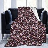 Manta de forro polar ultra suave para adultos con patrón de flores coloridas con fondo oscuro y líneas geométricas y círculos, suave y cómoda manta de sofá