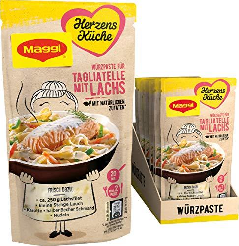 Maggi Herzensküche Tagliatelle mit Lachs, Würzpaste für Fisch-Gemüse-Gerichte, 10er Pack (10 x 65 g)