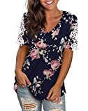 NIASHOT Shirts for Women Short Sleeve Floral Printed Tee V Neck Lace Tops Blue Rose XL