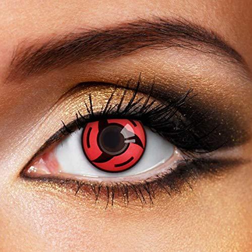 Partylens Farblinsen Sharingan Mangekyou Itachi weiche Kontaktlinsen Jahreslinsen mit Kontaktlinsenbehälter Jahreslinsen, Schwarz, Rot, BC 8.6 mm / DIA 14.5 mm / 0 Dioptrien