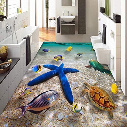 papel tapiz de decoracin de pared D Submarine World Starfish Sea Water Photo Mural Wallpaper 3D Azulejos de suelo Pintura de suelo PVC Baño Papel de pared impermeable 3 D-250 * 175cm