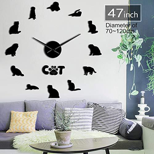 Gudojk Scottish Fold Cat spiegeleffect DIY muursticker kunst klok verliefde kat Scottish dubbele wandklok exclusieve decoratie van het huis 37 inch