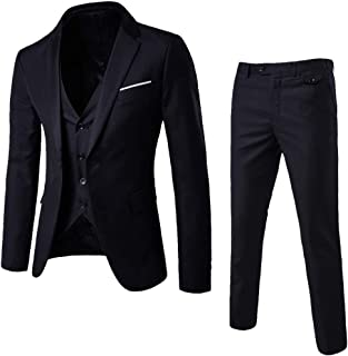 Geili Men's Slim Fit 3 Piece Business One Button Tuxedo Suit Festive Wedding Party Suits 3-Piece Jacket Jacket Trousers Vest Set in Black Grey Navy Wine Red