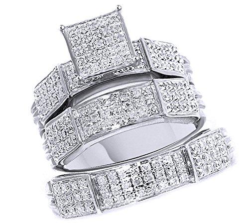 Anillo de compromiso y boda de diamantes naturales blancos en oro de 9 quilates (0,55 quilates), Diamond,