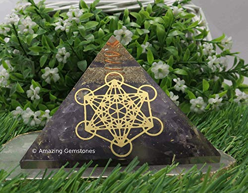 Amazing Gemstone Pirámide Orgone de amatista para EMF y protección energética negativa, pirámide de cristal de amatista natural (cubo metatrón)