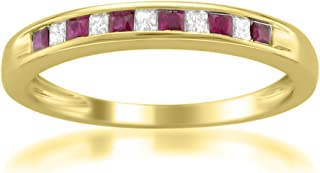 14k Yellow Gold Princess-Cut Diamond and Red Ruby Wedding Band Ring (1/3 cttw, H-I, I1-I2)