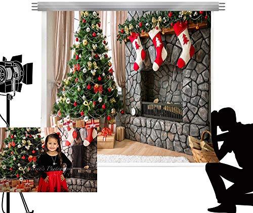 Kate 2.2x1.5m Árbol de Navidad Chimenea Photocall telón de Fondo de Fondo para Estudio de fotografía Familia de...