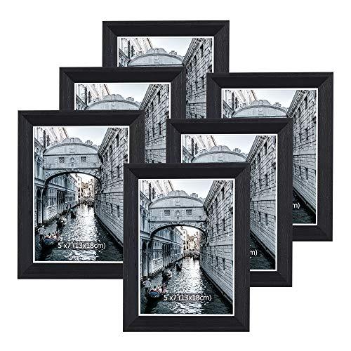 Metrekey Bilderrahmen 13x18 cm Set 6 Holz Schwarz Vintage Glas Fotorahmen Portraitrahmen mit Halterung und Haken für Tischplatte und Wanddekoration