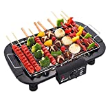 Sisliya Charcoal Grill Indoor Electric Grill with Stainless Steel Drip Pan and Grilling Net Smoke-Less BBQ Grill 2000W Rapid Heating Detachable Easy to Clean Smoker BBQ Grill
