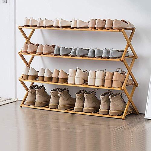 DXMRWJ Zapatero Plegable, Zapatero de bambú Multifuncional Independiente, Organizador de Zapatos Independiente 1106 para Sala de Estar (Color: Color Madera, tamaño: 70 * 25 * 110 cm)