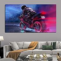 キャンバスペインティング 現代のオートバイの絵画壁アート風景ポスターとプリントリビングルームの家の装飾のための肖像画アート写真フレームなし 50x75cm