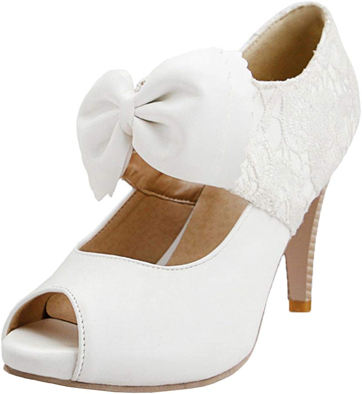 Vitalo Womens Lace Peep Toe High Heel Pumps Bow Mary Jane shoes
