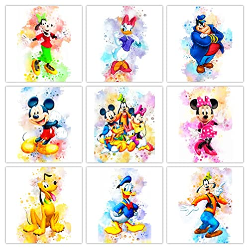 Mickey Mouse Watercolor Wall Art Posters Prints Set Of 9 (8 inches x 10 inches) Minnie Mouse Clubhouse Room Decor Poster With Donald Duck Pluto Pete Goofy Daisy Pictures Wall Posters Print Art
